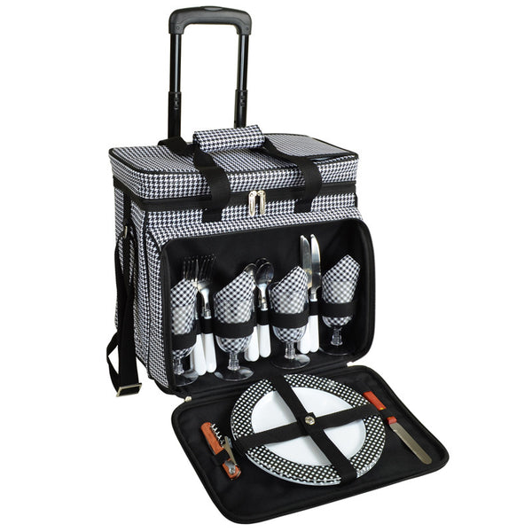 Houndstooth Picnic Cooler for 4 on Wheels - The Picnic Store - 1