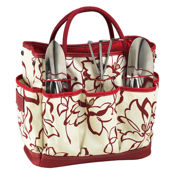 Red Floral Gardening Tote with Tools - The Picnic Store - 1