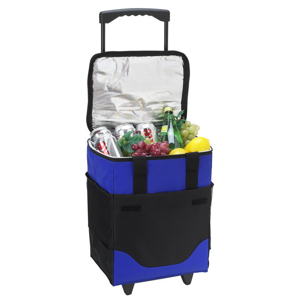 32 Can Collapsible Rolling Cooler with Wine Bottle Divide - The Picnic Store - 1