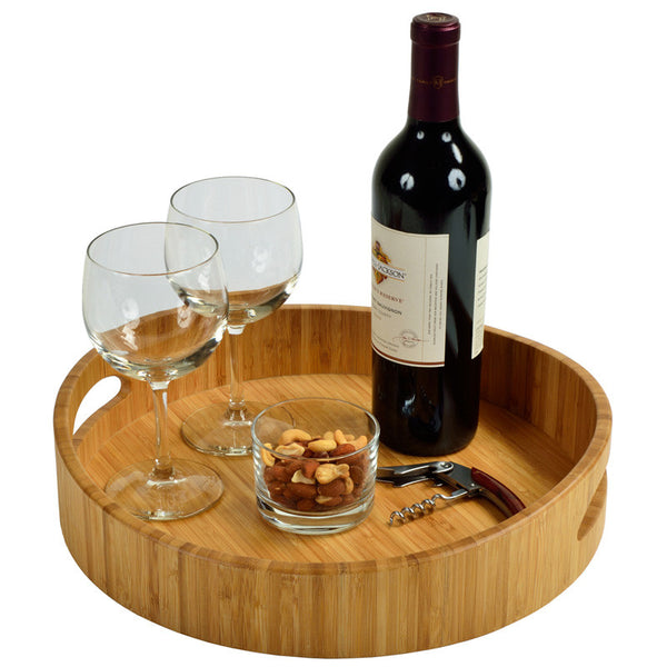 Curve Bamboo Cocktail Tray - The Picnic Store - 1