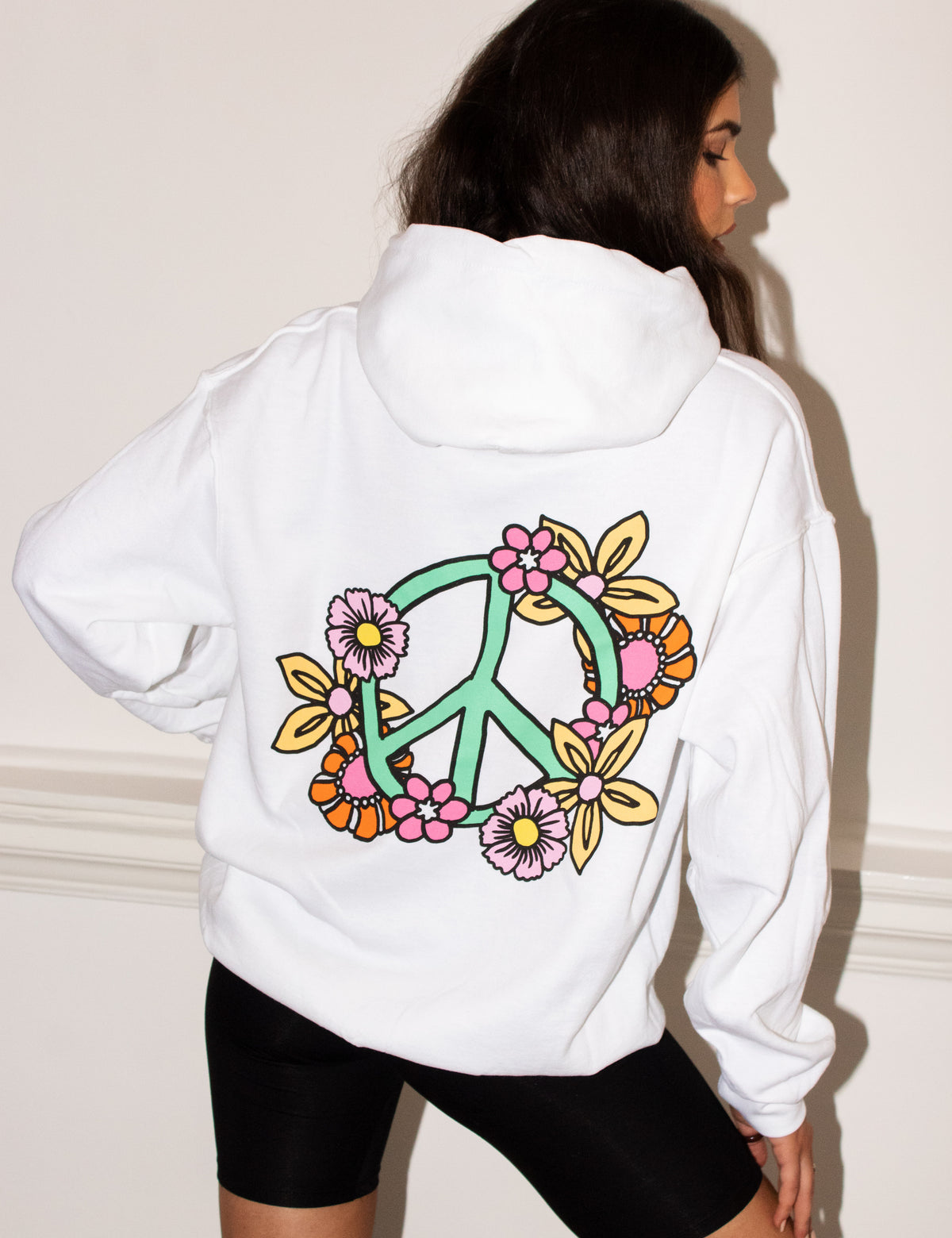 FLORAL PEACE WHITE HOOD