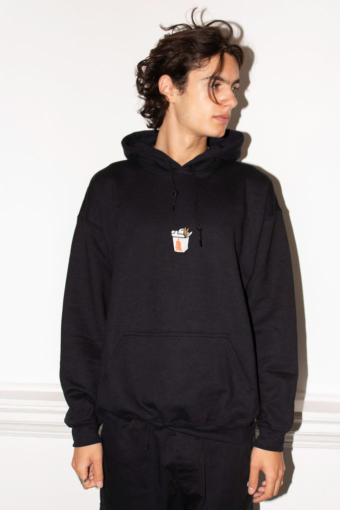 TAKE AWAY EMBROIDERED BLACK HOOD