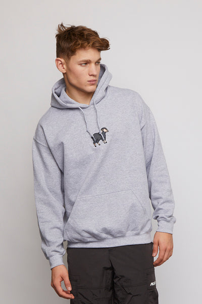 SHEEP EMBROIDERED GREY HOODY