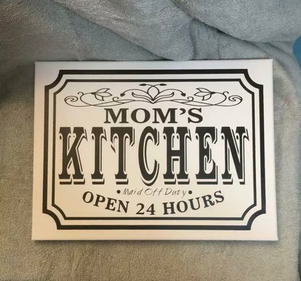 Mom's Kitchen Handmade Canvas Wall Hanging