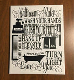 Bathroom Rules Canvas Wall Hanging 11x14 Pic 1