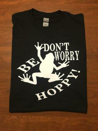Don't Worry Be Hoppy Custom Black Tee Size M Pic 1