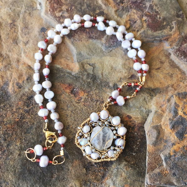 luna moonstone dancing amulet with pearls, labradorite, and garnets
