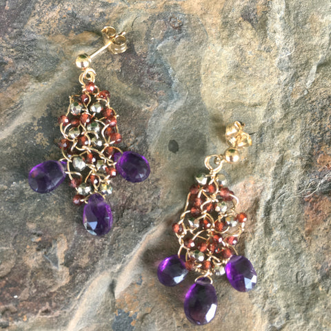 Webs: Amethyst with Garnet and Pyrite