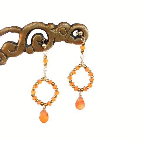 Carnelian Hoops with Teardrop