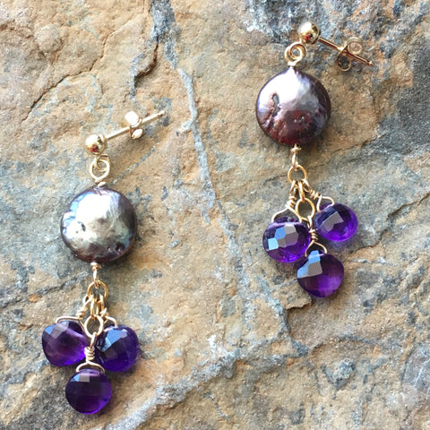 Black Coin Pearls with Amethyst Drops