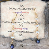 Blue Pearl Drops with White Freshwater Pearls