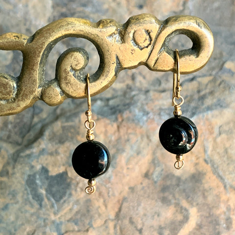 Black Tourmaline Button Earrings