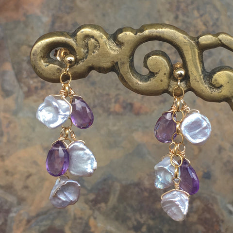 Keshi Pearls with Amethyst