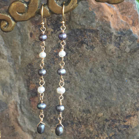 Green Gray Pearl Drops with White Freshwater Pearls