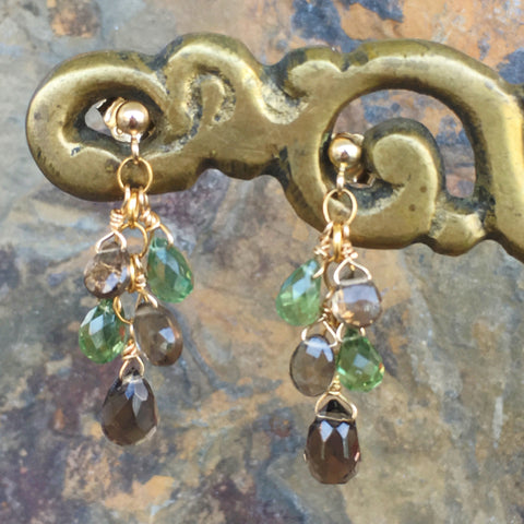 Smoky Quartz and Prehnite Earrrings
