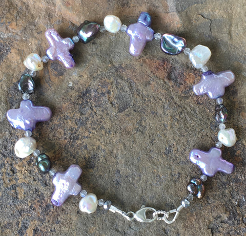 Stella Maris Pearl Bracelet 1: Purple Crosses with Black and White Keshi Pearls