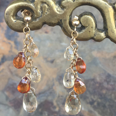 Champagne Quartz, Citrine, and Hessonite Garland