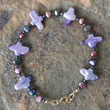 Stella Maris Dark Pearl Bracelet 3: Purple Crosses with Magenta and Black Pearls