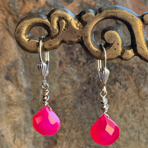 Hot Pink Chalcedony Silver Drops