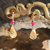 Citrine Teardrop Pendants with Ruby