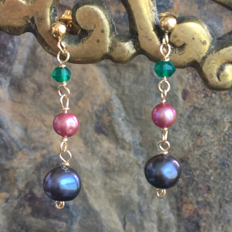 Black and Pink Pearls with Green Onyx