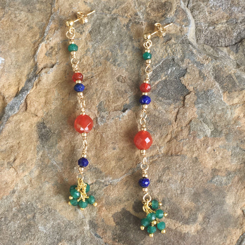 Red Agate, Lapis, and Green Onyx Fringe