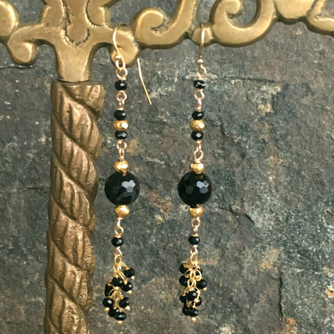 Black Agate and Spinel Long Fringe