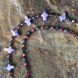 Stella Maris Dark Pearl Bracelet: Magenta and Black Pearls
