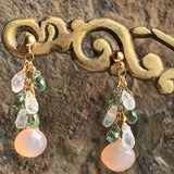 Moonstone and Prehnite Cluster Earrings