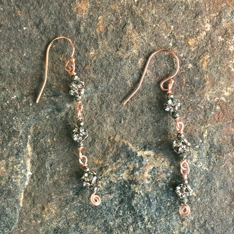 Pyrite and Rhinestone Fortuna Earrings