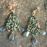 Webs: Labradorite with Malachite