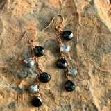 Mystic Labradorite and Black Spinel Drops on Rose Chain