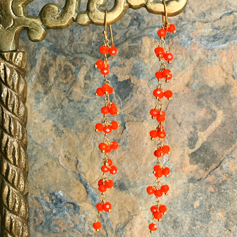 Coral Fringe Earrings on Long Chain