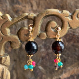 Celebration Earrings Medium: Black Agate Colors