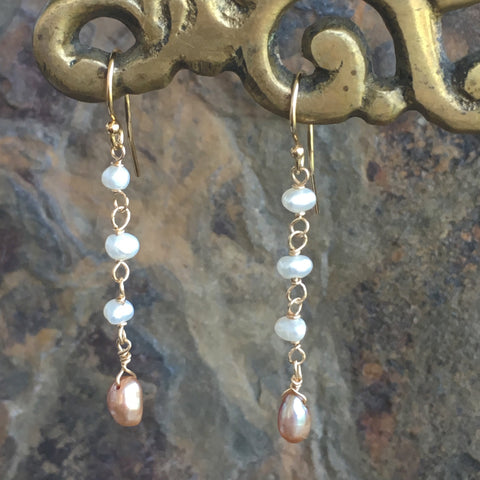 Peach Pearl Drops with White Freshwater Pearls