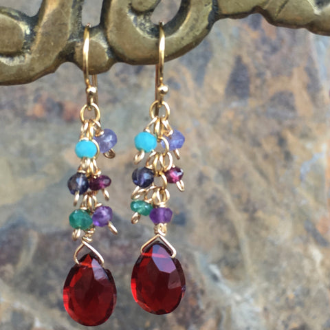 Gemstone Cluster Earrings: Garnet and More