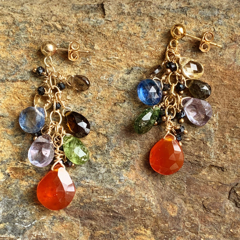 Carnelian Cluster Earrings with Tourmaline, Quartz, Kyanite, and Citrine