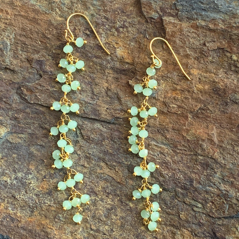 Prehnite Fringe Earrings on Long Chain