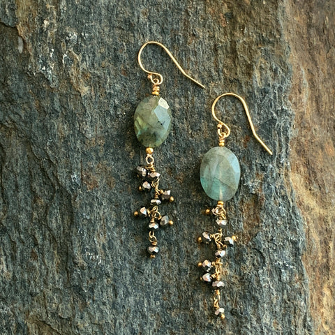Labradorite Mystical Talisman Earrings with Pyrite Fringe