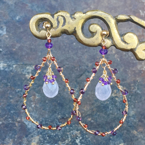 Rose Quartz in Garnet and Amethyst Marquise Frames
