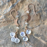 Rose Gold Crescent Moons with Moonstones