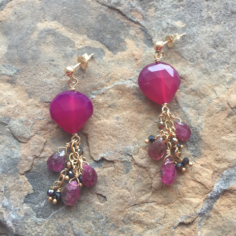 Plum Chalcedony Hearts with Tourmaline and Spinel Fringe