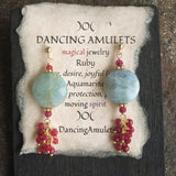 Aquamarine Coins with Ruby Fringe