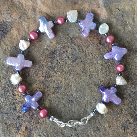 Stella Maris Pearl Bracelet 2: Purple Crosses with Pink Pearls and White Keshi Pearls