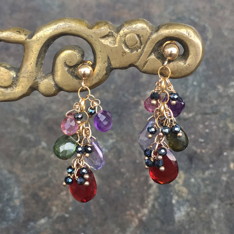 Gemstone Briolette Cluster Earrings: Garnet and More