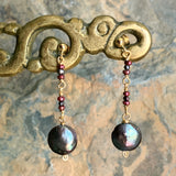 Black Violet Pink Irridescent Coin Pearl Earrings