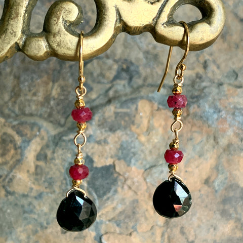 Black Spinel Drops with Rubies