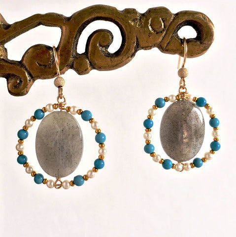 Labradorite in Turquoise and Pearl Frames