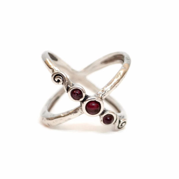Garnet Criss Cross Ring