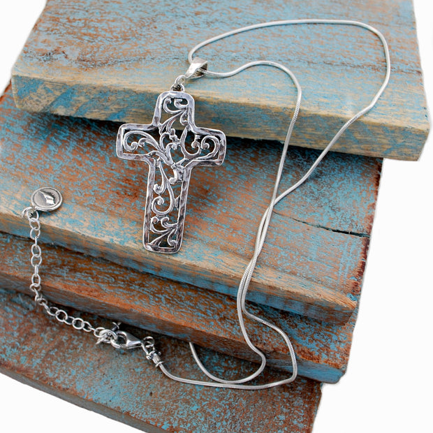 Scrolled Cross Necklace